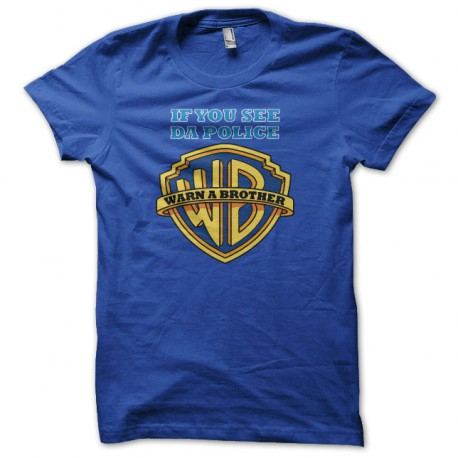 e714e5b5bf63 T-shirt Warn a Brother parody Warner Bros blue