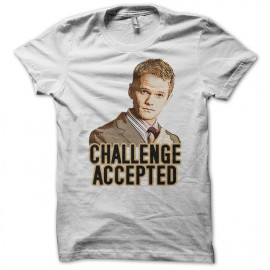 Tee Shirt Challenge Accepted Barney Stinson blanc
