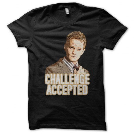 Tee Shirt Challenge Accepted Barney Stinson noir