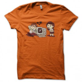 tee shirt geek amoureux orange