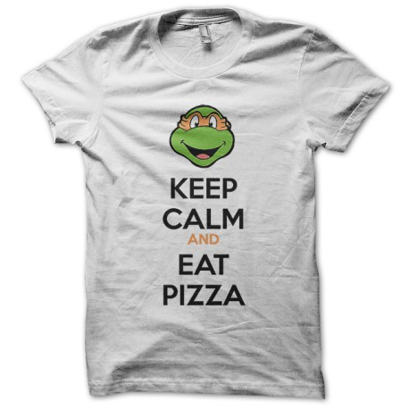 Tee shirt keep calm and eat pizza michelangelo tortues ninja - Michaelangelo tortue ninja ...