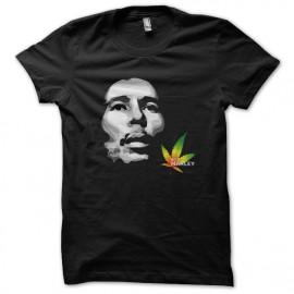 T-Shirt Bob Marley shadow black cannabis leaf