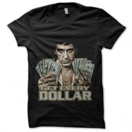 Tee Shirt Scarface Tony Montana Get Every Dollar Black