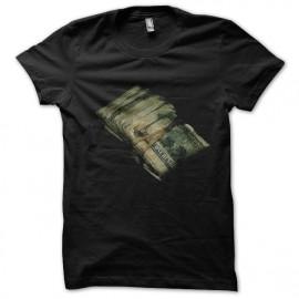tee shirt liasse de billet en noir