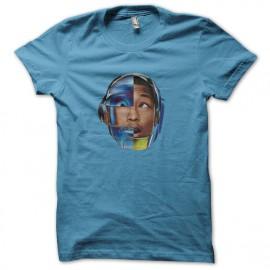 tee shirt pharrell williams avec le casque daft punk bleu ciel