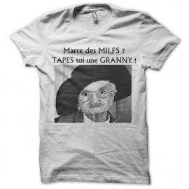 tee shirt tapes toi une granny en blanc