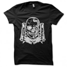 gun and skull t-shirt white on black