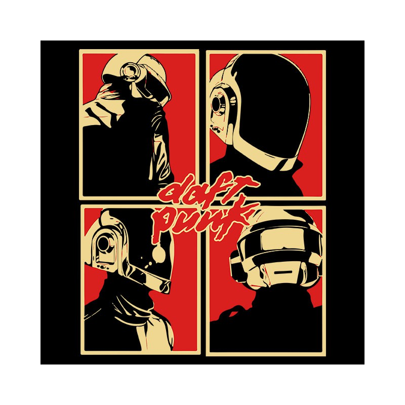daft punk logo t-shirt pop art black