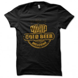 black tee shirt cold beer