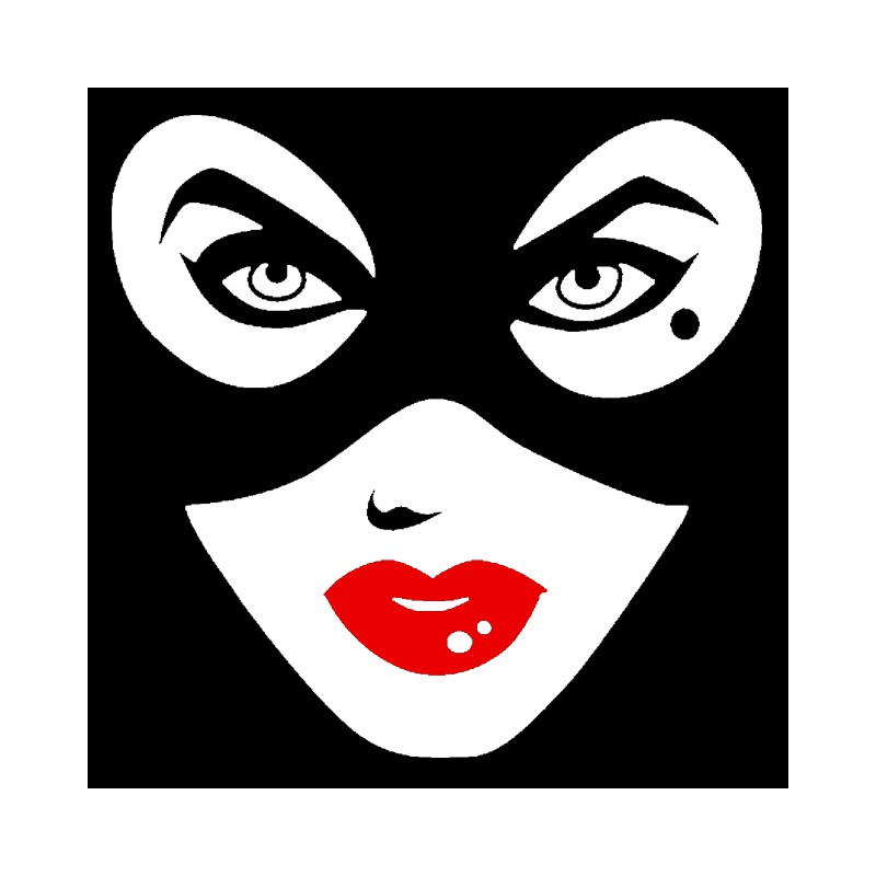 Tee Shirt Face Black Catwoman