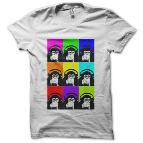 t-shirt with headphones white monkey
