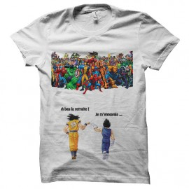 Tee shirt Sangoku et Vegeta Vs Marvel blanc
