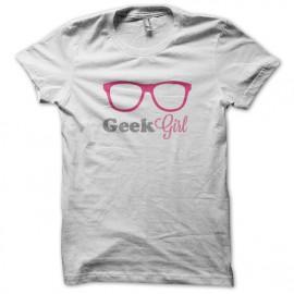 Tee Shirt Geek Girl rose Blanc