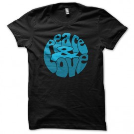 Tee Shirt Peace Love Blue on Black