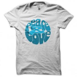 Tee Shirts azul del amor de la paz en el blanco