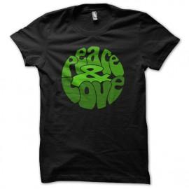 Tee Shirts Verde del amor de la paz en Negro