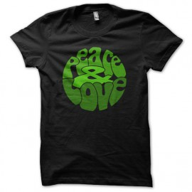 Tee Shirt Peace Love Green on Black