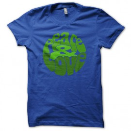 Tee Shirt Peace Love Green on Blue