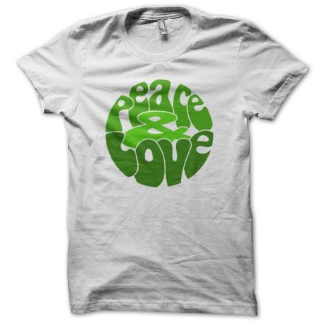 Tee Shirt Peace Love Green on White