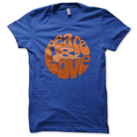 Tee Shirt Peace Love Orange on Blue