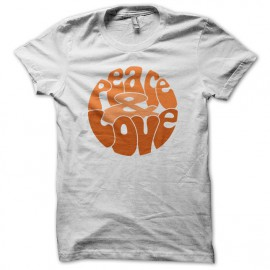 Tee Shirt Peace Love Orange on White