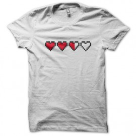 Tee Shirt Heart Life gamer Blanc