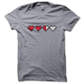 Tee Shirt Heart Life gamer Gris