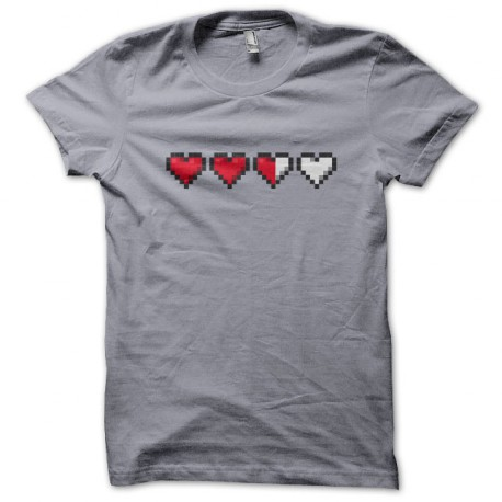 Tee Shirt Heart Life gamer Gris