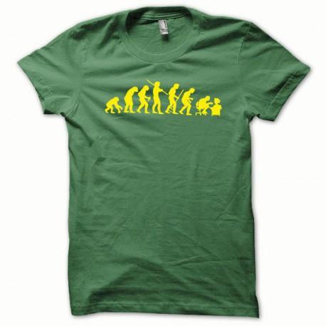 Tee shirt Evolution jaune/vert bouteille
