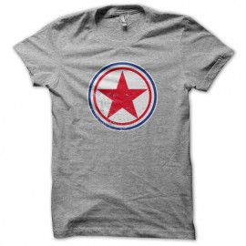 Tee Shirt coree du nord cocarde gris