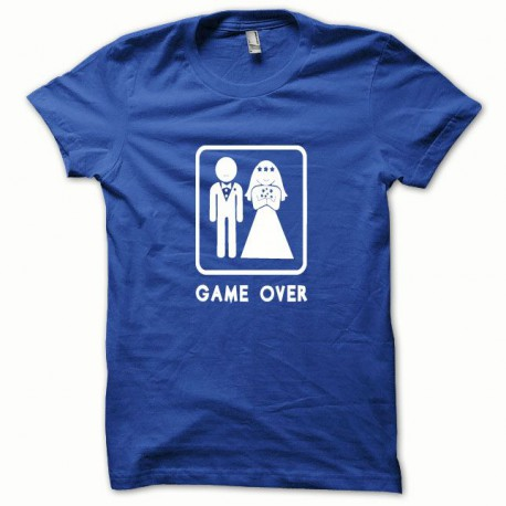 Tee shirt Game Over blanc/bleu royal