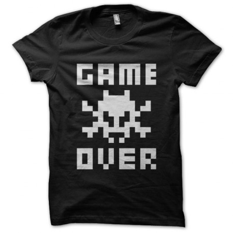 Game Over Tee Shirt White on Black