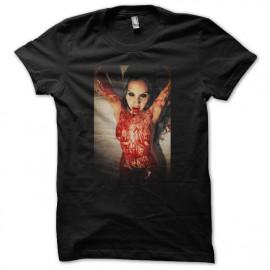 sangre zombi negro camiseta