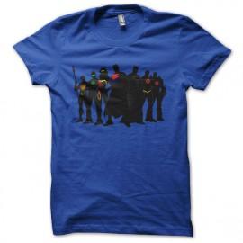 camisa de la liga de justicia superhéroes azul