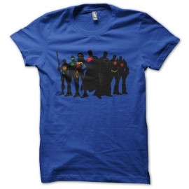 tee shirt justice league super heros bleu