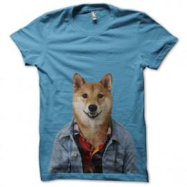 menswear shirt light blue dog