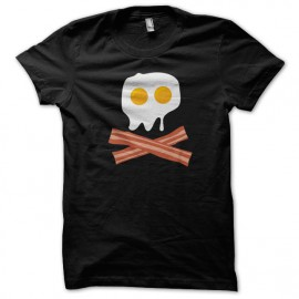 Egg Bacon Tee Shirt Pirate skull Black