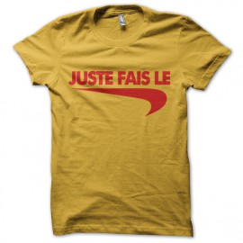 """Tee Shirt parody Nike just do it """"just do it"""" red on yellow"""