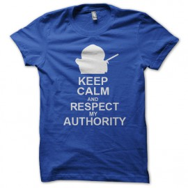 tee shirt eric cartman keep calm and respect my authority bleu