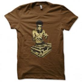 tee shirt Bruce lee Dj nouvelle version marron