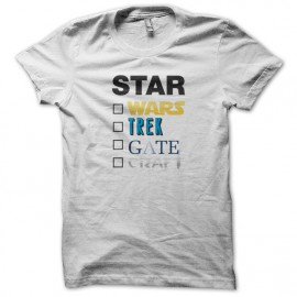 Tee Shirt Star wars trek gate craft à cocher - Blanc