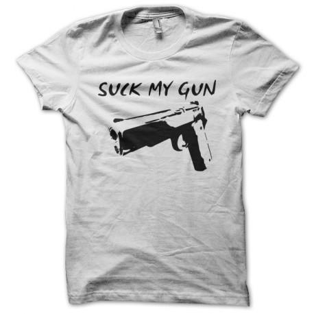 tee shirt suck my gun blanc. Black Bedroom Furniture Sets. Home Design Ideas