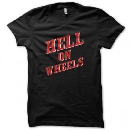 infierno en el logotipo negro camisa de ruedas