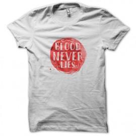 Tee Shirts Dexter - La sangre nunca miente - BLANCO