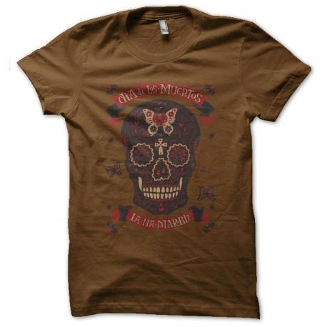 tee shirt dias del muerto marron
