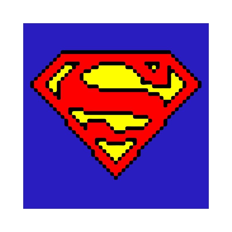 Superman T Shirt Blue Pixel Art
