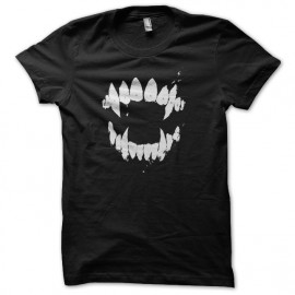 black t-shirt vampire fangs