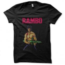 camiseta del negro de la camisa rambo