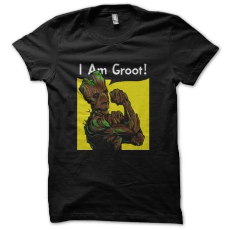 tee shirt I Am Groot noir