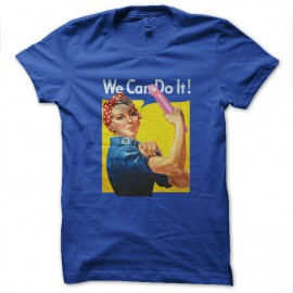 tee shirt we can do it bleu